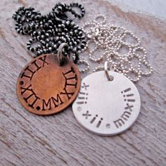 Save the Date Couples Necklaces  Valentine's Day by JLynnCreations