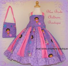 Dora Dress & Purse Set  BBCB Boutique Girls New  RTS  by sarahBBCB, $45.00