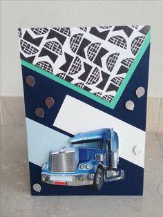 Verjaardagskaart voor mannen/jongens, een echte truckerkaart! Birthday card for men! DIY