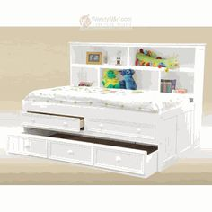 Cottage White Twin Bookcase Panel Bed With Drawers Trundle Bookshelf Captains