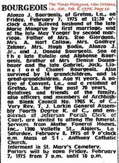 Alonzo J. Bourgeois Obituary