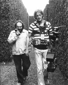 On the set of The Shining. Stanley Kubrick and Garrett Brown (inventor of the steadicam)