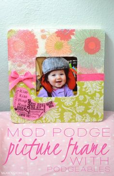 Mod Podge Frame w/Podgeables and Dimensional Magic @Plaid Crafts ■A frame to decorate ■Scrapbook Paper ■Mod Podge Podgeable Shapes ■Mod Podge Rub-on-Transfers ■Mod Podge Dimensional Magic ■Mod Podge Jewel Glue ■Mod Podge Clear Acrylic Sealer ■Ribbon ■An adorable photo ■Scissors ■Pencil