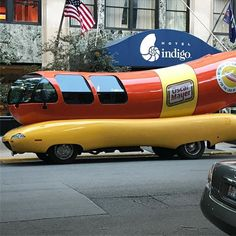 Oscar Mayer Weiner Mobile on N Dearborn in Chicago. We need to bring it to our local properties! Oscar Mayer, Hotel Indigo, Food Trucks, Bring It On, Chicago, Cars, Random, Instagram, Vehicles