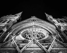 8x10 Black and White Print Exterior Of A Church At by PelliculArt