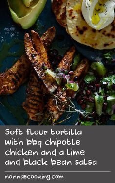 Soft flour tortilla with bbq chipotle chicken and a lime and black bean salsa Avocado Chicken Recipes, Chipotle Chicken, Crab Recipes, Yummy Chicken Recipes, Dishes Recipes, Flour Recipes, Entree Recipes, Yum Yum Chicken, Best Dessert Recipes