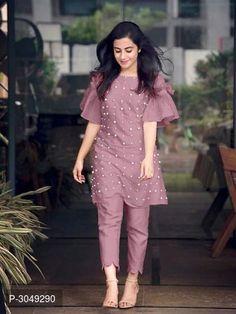 Chikni Chameli Theme Cotton Moti Work Semi Stitched Kurti With Pant from Salwar Designs, Kurta Designs Women, Kurti Designs Party Wear, Short Kurti Designs, Dress Indian Style, Indian Fashion Dresses, Indian Designer Outfits, Designer Party Wear Dresses, Designer Salwar Suits