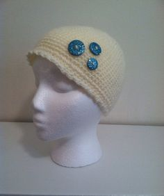 Ivory girl beanie with sparkling buttons on Etsy, $12.00