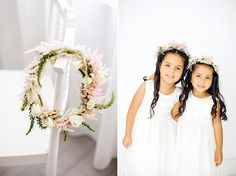 floral crowns for flower girls | Elaine Palladino Photography | Glamour & Grace