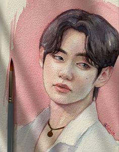Kpop Drawings, Anime Drawings Sketches, Painting People, Drawing People, Watercolor Portraits, Watercolor Paintings, Beautiful Eyes Color, Bts Art, Taehyung Fanart