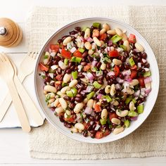 Weight Watchers Black-and-White Summer Bean Salad - A sweet, just-picked tomato is key to this refreshing salad. If none look great, use naturally-sweet grape tomatoes instead.