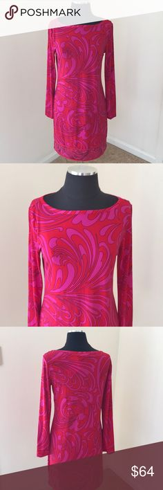 NWT! Michael Kors Red Pink Printed Dress NWT! Michael kors Full sleeved crew  Neck Red With Pink Printed Dress MICHAEL Michael Kors Dresses Long Sleeve