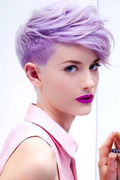 FAVORITE PIXIE HAIRCUTS, START YOUR DIFFERENT LOOK THIS SUMMER - Styles Art Purple Pixie Cut, Dyed Pixie Cut, Hair Color Pixie Cut, Coloured Pixie Cut, Short Hair Colour, Short Colorful Hair, Pixie Haircut Color, Pixie Haircut 2017, Pastel Pixie