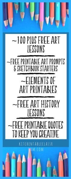 one hundred free art lessons with detailed project instructions. Free sketchbook prompts printables, art history for kids, element of art printables, and printable quotes to keep you encouraged. Get creative in your art lessons whether you're an ar History Lessons For Kids, Art Lessons For Kids, History Projects, Art For Kids, Art Projects, School Projects, Sketchbook Prompts, Art Sketchbook, Free Printable Art