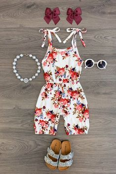 White Floral Romper - Sparkle In Pink Rompers For Kids, Cute Rompers, Girls Rompers, Baby Girl Romper, Baby Girl Dresses, Baby Dress, Little Kid Fashion, Baby Girl Fashion, Romper Dress