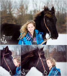 Emerald Anchor Photography senior Portraits-  Winter senior picture session with a horse