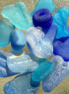 another pinner said: Sea glass. So many memories of looking for glass on the beach at Grandma and Grandpa's :) Sea Glass Beach, Sea Glass Art, Sea Glass Jewelry, Colored Glass, Shades Of Blue, Sea Shells, My Favorite Color, Pottery, Beautiful