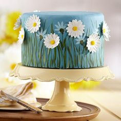 Field of Daisies Cake Recipe from @Wilton Cake Decorating --- Painting Technique Instructions available, too!