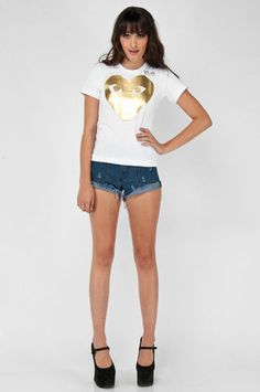 Comme des Garcons Play Heart Gold Foil Print T-Shirt $129 at www.tobi.com