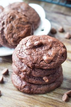 These Fudge Brownie Cookies have a rich chocolate flavor and super fudgy texture. Perfect with vanilla ice cream, or a cold glass of milk.