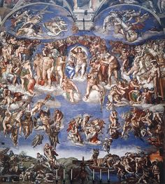 """The Last Judgement"" (1537-41) fresco, Sistine Chapel, the Vatican, Vatican City, Rome, Italy."