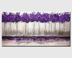Modern Purple Silver Landscape Blooming Tree Painting Signed Palette Knife Original Acrylic Painting by Osnat (this, except a row of delicate looking purple flowers, dark green vines w/ Landscape Painting - Original Contemporary Modern Art by Osnat. Wal Art, Purple Trees, Purple Flowers, Blooming Trees, Tree Art, Landscape Paintings, Modern Paintings, Tree Paintings, Decorative Paintings