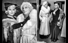 Mae West, in the black dress, and district attorney investigator Harry Dean, impersonating her, pose for the news media after a suspect was detained in an extortion case on Oct. 7, 1935.