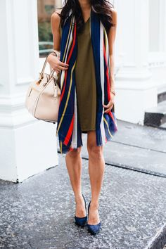 old navy dress, striped scarf, dvf pumps, navy, olive, christine petric, the view from 5 ft. 2