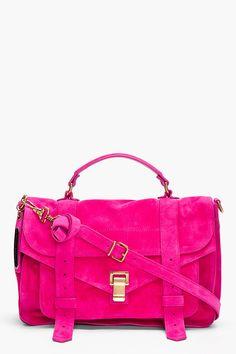 I just died...   PROENZA SCHOULER PS1 Medium Pink Suede Satchel