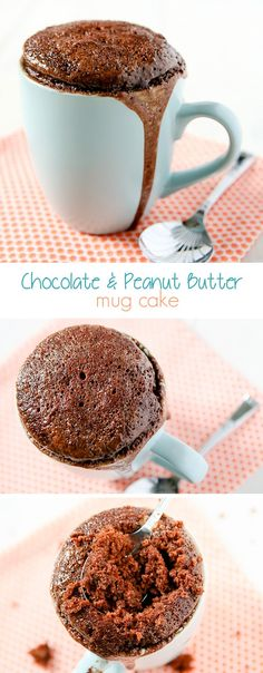 Re-Pin By @siliconem -  Chocolate Peanut Butter Mug Cake Recipe by Sweet2EatBaking.com | Moist, rich and indulgent. The chocolate cake is made from dark chocolate (no cocoa powder here!), with a generous smooth peanut butter core. Perfect quick and easy dessert recipe to curb those chocolate cravings!