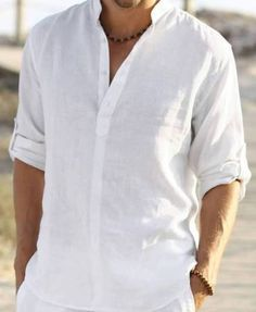 Man white linen shirt beach wedding party special occasion birthday summer by Maliposhaclothes on Etsy Beach Wedding Groom Attire, Beach Attire, Wedding Suits, Wedding Beach, Beach Party, Trendy Wedding, Mens Informal Wedding Attire, Beach Groom, Outfit Beach