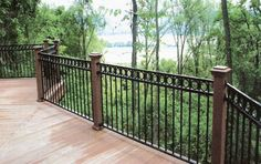 Lovable Black Wrought Iron Pool Fence and black iron fence hardware Wrought Iron Stair Railing, Wrought Iron Fences, Deck Railings, Iron Railings, Garden Railings, Front Yard Fence, Fenced In Yard, Brick Fence, Pallet Fence