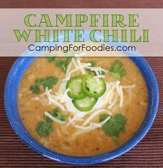Easy Campfire White Chili Recipe. Camping and chili just seem to go together! This Easy Campfire White Chili Recipe is a slight twist on the traditional tomato-based chili; it uses ground turkey, white beans and chicken broth as its base. It's easily adaptable to a camp stove if you are dealing with fire restrictions too. This simple one-pot camping recipe makes for easy clean up!