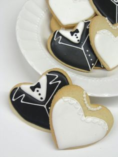 Wedding Cookies by BakeMePretty on Etsy, 42.00 Cori could we make these from a heart cookie cutter (only the dresses) and make them black & white & red?