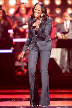 Yolanda Adams in a fitted Suit
