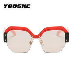 2c0e79d75a81 YOOSKE NEW Fashion Retro Oversized Sunglasses Womens Clear Colorful UV400  Shades Women s Sunglass Luxury Vintage Brand Designer