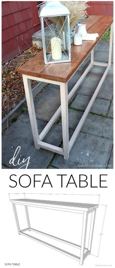 A DIY tutorial to build a simple sofa table. An easy solution for behind the sofa using off the shelf lumber and my free plans here. diy for beginners plans tips tools Do It Yourself Sofa, Do It Yourself Furniture, Diy Furniture Plans, Diy Sofa Table, Sofa Tables, Built In Sofa, Simple Sofa, French Home Decor, Free Plans