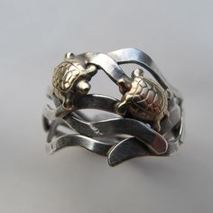Double Brass Turtle and silver kelp ring by simplyMegA on Etsy, $56.00