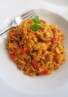 """One pot"" orzo and Italian sausages with Cajun spices - Ma . - ""One pot"" orzo and Italian sausages with Cajun spices One Pot Orzo, Vegetarian Recipes, Cooking Recipes, Italian Recipes, Italian Foods, Risotto, Food And Drink, Appetizers, Lunch"