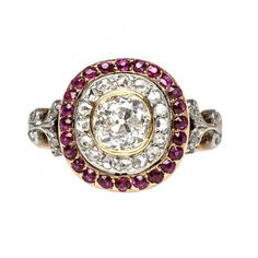 vintage old mine cut diamond halo ring / trumpet & horn