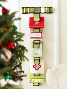 Create This Ribbon Christmas Card Hanger To Display Messages From Loved Ones Plus Get