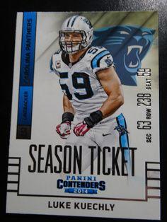 2014 Panini Contenders Season Ticket #66 Luke Kuechly Carolina Panthers Card #CarolinaPanthers