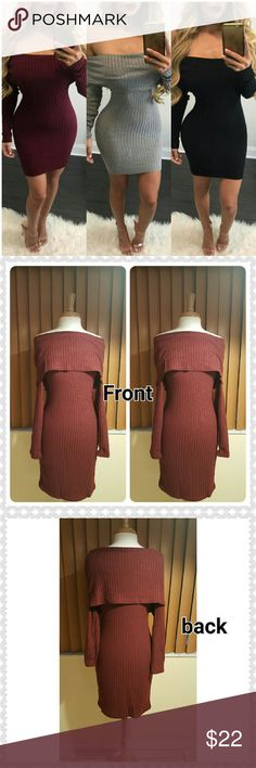 JUST IN. JENNY RED WINE TURN DOWN SHOULDER DRESS 100 BNWOT. GOOD CONDITION. Red wine color. 100 polyester. Sweater look. Thin. Has some stretch. UNDER ARMPIT/ ARMPIT 38INCHES. Waist 32 1/2 inches. Hips 34inches.shoulder 20 inches. From center under collar/bottom dress length 36inches.cuff 4inches.sleeve 22 1/2 inches. This is an Asian item which tends to run small Asian xlarge/ us size 8-10. Suggested ordering one size larger. Please measure yourself carefully before buying this item…