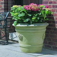Raised flower medallions accent four sides of the Campania International Certosa Medallion Cast Stone Planter , giving it classical charm. This planter. Urn Planters, Corten Steel Planters, Barrel Planter, Planter Pots, Fall Container Gardens, Stone Planters, Planters, French Limestone, Garden Vines