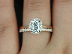 Celeste 14kt Rose Gold Oval FB Moissanite and Diamond Pave Halo Wedding Set (Other metals and stone options available) on Etsy, $2,300.00
