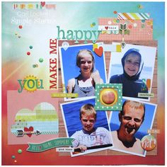 You Make Me Happy - Scrapbook.com - Made with the Simple Stories Summer Vibes collection.