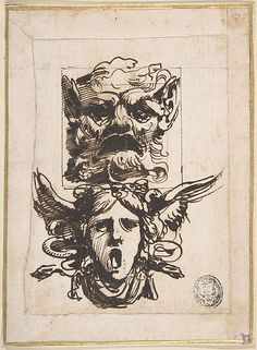Carlo Bianconi (Italian, 1732–1802). Design for Two Masks Shaped as Satyr and a Winged Medusa Head, 1732–1802. The Metropolitan Museum of Art, New York. The Elisha Whittelsey Collection, The Elisha Whittelsey Fund, 1952 (52.570.313) #Halloween