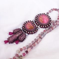Beadworktropicalbead embroidery Tabitanecklace with by Aillil, $150.00
