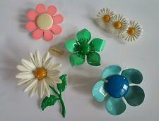 Vintage Estate Retro Flower Pin Lot Enamel Jewelry Pink Yellow Blue Green Daisy