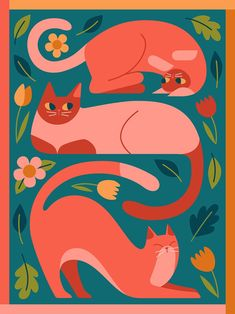 """Cat Finnie on Twitter: """"Garden cats! Spring is sprung. #illustration… """" Mago Tattoo, Posca Art, Image Chat, Wow Art, Art Graphique, Collage Art, Cute Art, Art Inspo, Painting & Drawing"""